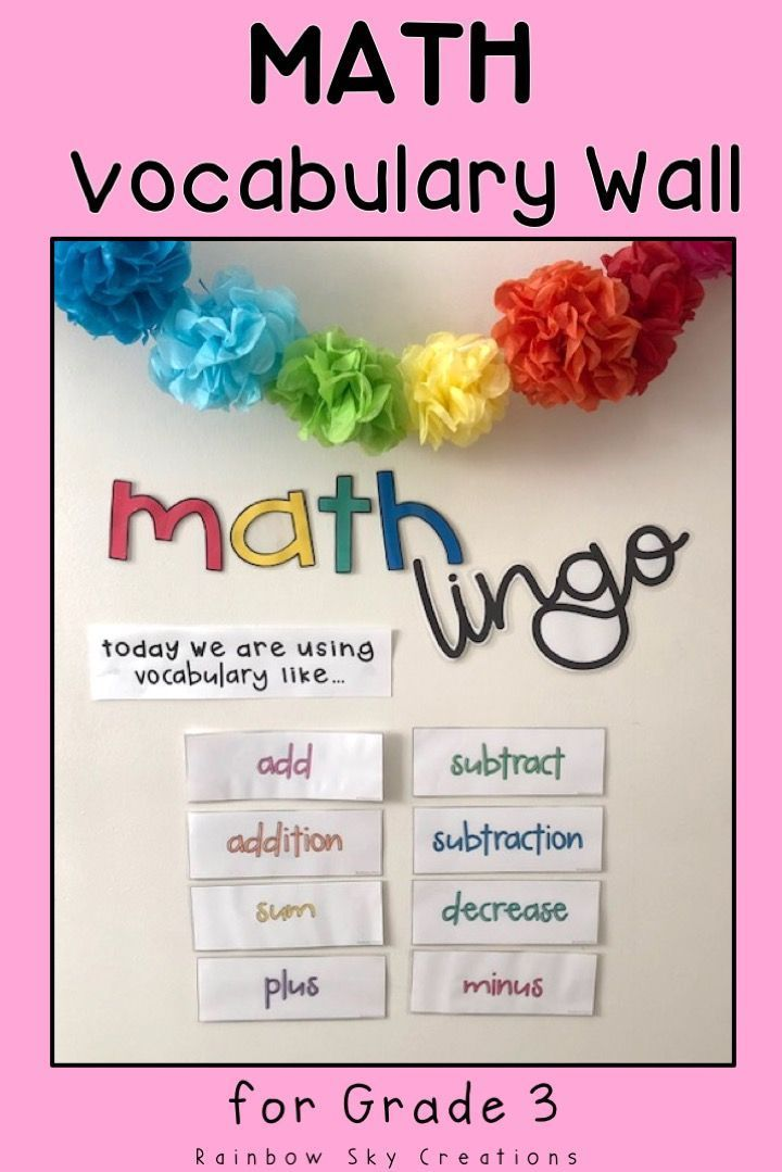 These math vocabulary cards & display are a teaching tool to help introduce new & familiar language to your students in mathematics. Cards only contain one word (no confusing definitions) so they can easily refer to them during lessons or problem solving. Use cards as a changing word wall, to add to anchor charts & to model correct math terminology. Pack comes with vocab for all math strands and bulletin board letters (third grade, 3rd, Year 3, Grade 3, Australian curriculum aligned)