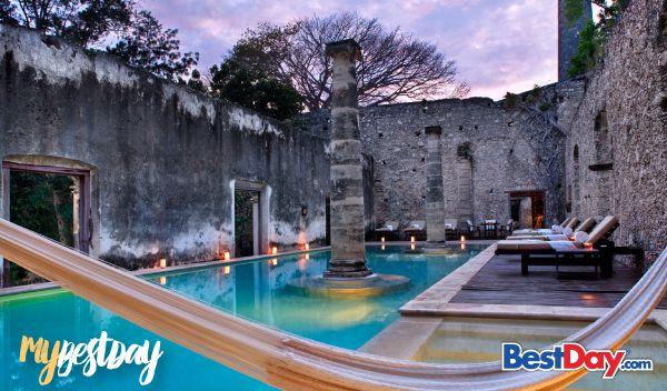Encuentra todo un santuario de paz y tranquilidad a tan sólo 20 km del centro de la ciudad de Campeche al hospedarte en la Hacienda Uayamón. Tras dos años de reconstrucción, la Hacienda Uayamón te brinda lujosas y exclusivas instalaciones rodeadas de árboles de la región, como es su majestuosa y robusta ceiba. Para tu total descanso, se cuenta con un selecto spa, una fresca piscina, así como restaurante de fina gastronomía, entre otros. #MyBestDay