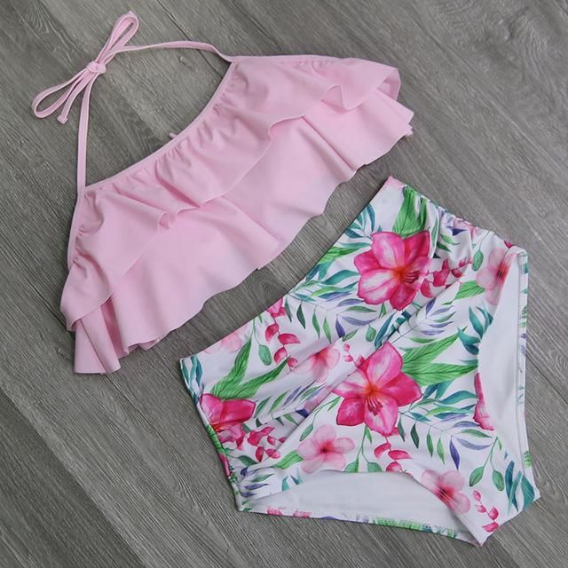 Double Ruffle Top with High Waist Bottoms