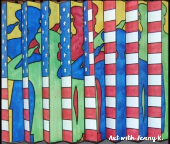 """Been hearing a buzz about """"agamographs"""" and wondered what they are? This Art with Jenny K blog post tells all! A great classroom art activity for students this Memorial Day that has a high """"Wow!"""" factor. It is sure the make an impression--with the kids and everyone else around school."""