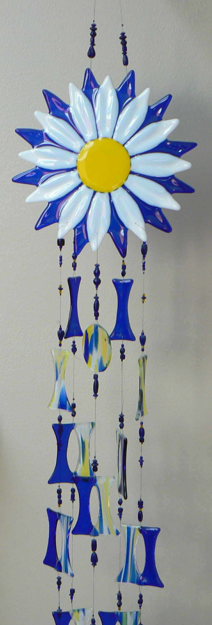 Fused daisy wind chime I made at Rainbow Vision stained glass shop HBG, PA. Dawn L