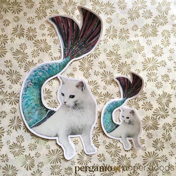 Mermaid Cat Sticker | Mer-Cat Unique Vinyl Sticker Stocking Stuffer | Cat Car Sticker | Laptop Sticker | Outdoor Sticker | Nonfade Sticker
