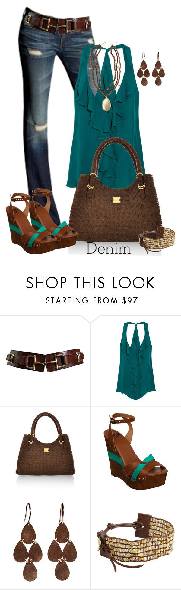 """Untitled #304"" by johnna-cameron ❤ liked on Polyvore featuring AG Adriano Goldschmied, CÉLINE, Haute Hippie, Modalu, Bertie, Irene Neuwirth, Calypso St. Barth, Chan Luu and polyvoreeditorial"