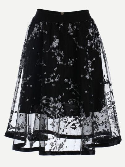 Falda estampados malla midi -negro