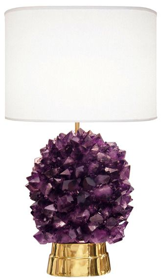 Award-winning, contemporary interior furnishings designer Craig Van Den Brulle created this Amethyst Rock Crystal Lamp, a skillful piece of his renown mathematical #art. Made of semi-precious stone and cast bronze #hardware, this fixture makes a statement, doubling as both curated art and #lighting.