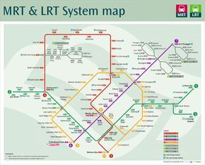 """Singapore 'Mass Rapid Transit' & """"Light Rail Transit' maps, it's so easy to get around the entire island."""