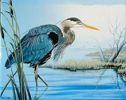 Image result for blue heron watercolor painting