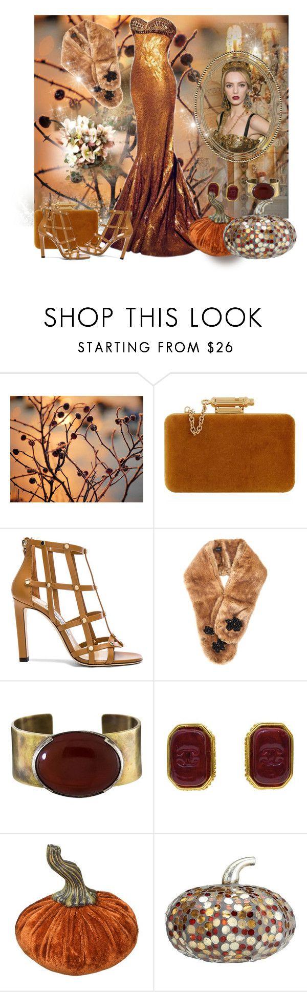 """Golden Girl"" by sherrysrosecottage-1 ❤ liked on Polyvore featuring Nicolas Jebran, Sophie Hulme, Jimmy Choo, Simone Rocha, Orduna Design, Glitzhome and Pottery Barn"