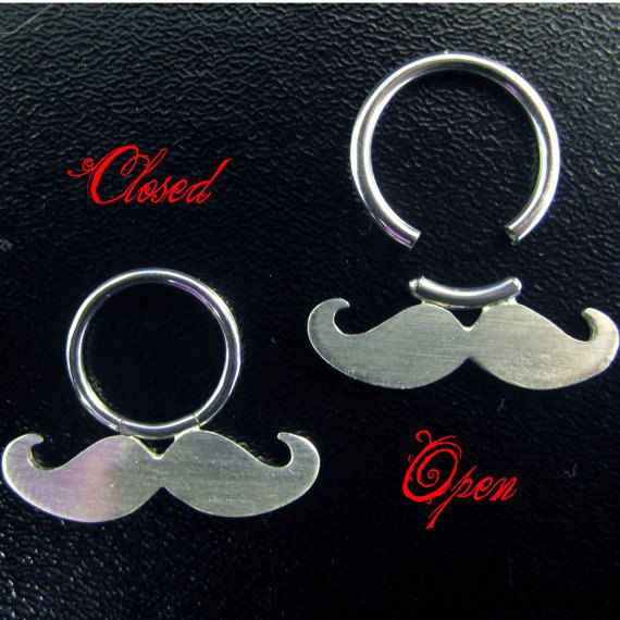 Moustache  Mustache Nose  Septum Ring  Silver and by SweetMovember, $60.00