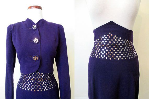 Incredible 1940's Deep Plum Purple Suit with Silver by wearitagain