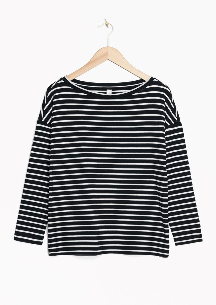 & Other Stories image 1 of Striped Bateau Top  in Black