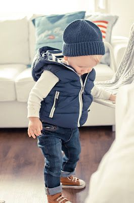 little boy style for fall and winter - jeans, Converse, vest, and knit cap. So cute! I know some sweet boys that would look great in this.