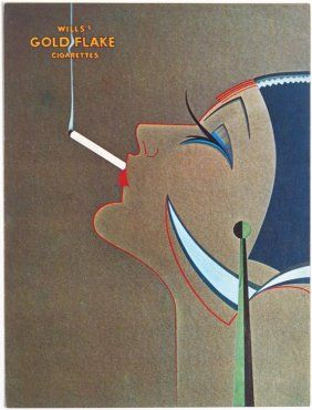 1927 Art Deco Gold Flake Cigarettes Ad Greeting Card