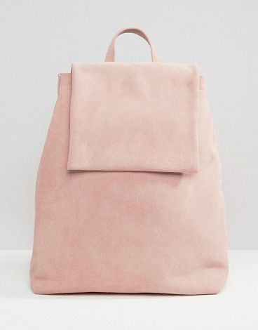 Boo Backpack in Pink Suede by Boopacks. Backpack by Boopacks, Suede outer, Single grab handle, Twin shoulder straps, Press-stud fastening, Front flap closure...