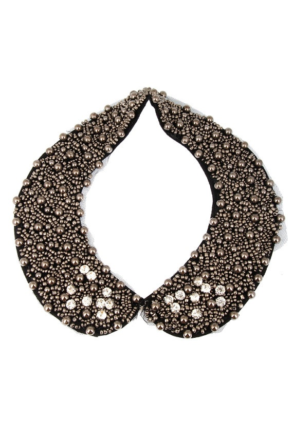 FREE SHIPPING peter pan collar necklace beads by trendycollars, $23.90