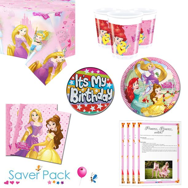 Disney princess party tableware saver pack with a FREE it's my birthday badge and a downloadable party game pack! Choose from 8, 16, 24 or 32 guests #disneyprincess #princessparty #disneyprincessparty #princesspartysupplies #princesspartytableware #disneyprincessparty #partygames #princesspartygames #downloadablepartygames
