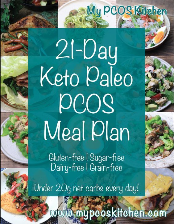 My PCOS Kitchen - 21-Day Keto Paleo PCOS Meal Plan - This is a 21-day meal plan that is completely gluten-free, sugar-free, dairy-free, grain-free, and low-carb.  There is a picture for every meal, nutritional information for every meal and every day, a snacks list, a grocery list and an introductory page. via @mypcoskitchen