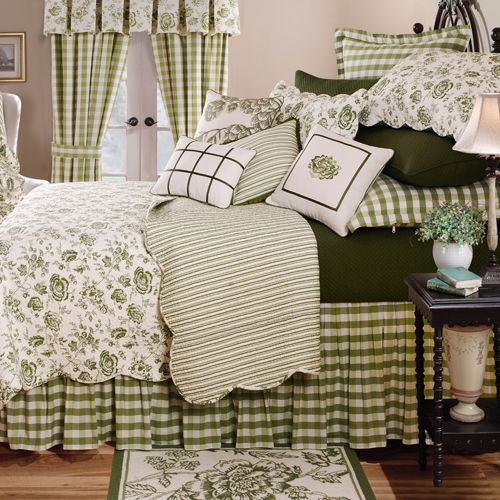 Love this mix of green patterns, esp. the gingham - (Comforter Sets, Bedding Sets & Bed In A Bag: The Home Decorating Company)