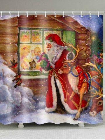 Christmas Elk Santa Claus Print Waterproof Shower Curtain Bathroom