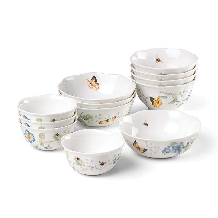 "Lenox  Created of Lenox fine porcelain   Microwave and dishwasher safe   Generally useful bowl limit: 20 oz.; width: 6 1/4""   Rice bowl limit: 16 oz.; distance across: 5 1/2""   Sweet bowl limit: 12 oz.; breadth: 4 3/4""  You can look here and buy."