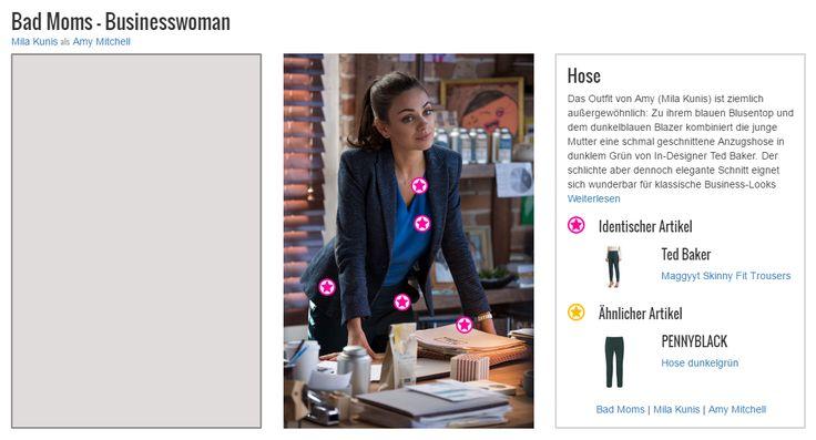 Das Outfit von Amy (Mila Kunis) ist ziemlich außergewöhnlich: Zu ihrem blauen Blusentop und dem dunkelblauen Blazer kombiniert die junge Mutter eine schmal geschnittene Anzugshose in dunklem Grün von In-Designer Ted Baker. Der schlichte aber dennoch elegante Schnitt eignet sich wunderbar für klassische Business-Looks und setzt nebenbei noch einen farblichen Akzent, der auch ansonsten klassisch in Schwarz gehaltene Styles zu einem echten Hingucker werden lässt.