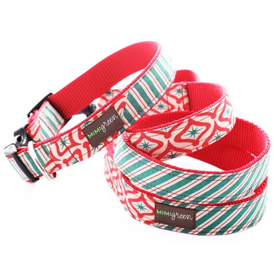 Peppermint Patty Holiday Dog Collar- Mimi Green $30