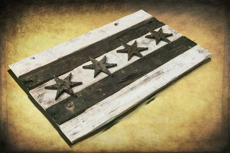 Handmade Distressed Wooden Black and White Chicago Flag  This and more available for purchase at: www.chrisknightcreations.com