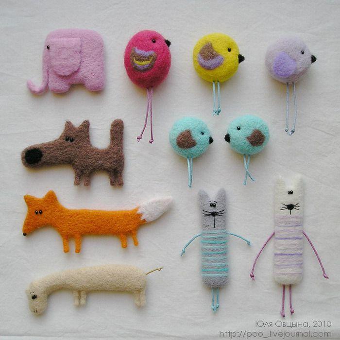 3518263_broshki_01 (700x700, 133Kb): Маленькие Авторские, 27Конфет Маленькие, Медведи Юли, Их Друзья, Юли Овцыной, Авторские Медведи, Felt Figures, Needle Felt, Animal