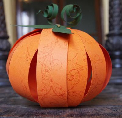Paper pumpkin - brads no glue, white sparkly paper NATO How to Make an Easy Paper Pumpkin