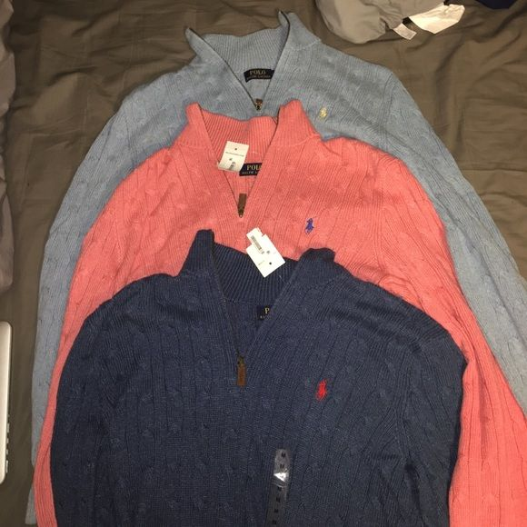Shop Men's Polo by Ralph Lauren Blue Pink size M Sweaters at a discounted price at Poshmark. Description: 3 Polo pullover knot sweaters. One is navy blue, one is samon, and the other is a light blue. NWT. Willing to go lower on ♍️erc. Men's medium.. Sold by juliabarkelew. Fast delivery, full service customer support.