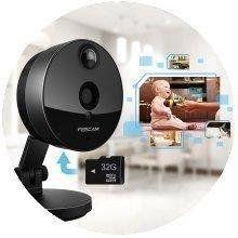 Foscam C1 Telecamera IP HD 720p da Interno, Wireless, P2P, Visore Notturno, 115º, Slot Micro SD, Rilevatore Movimenti, Nero: Amazon.it: Fai da te