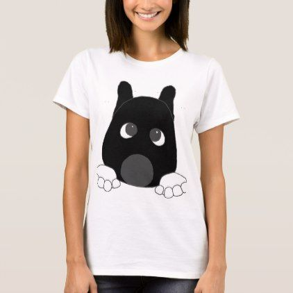 akita black mask white markings peeping T-Shirt - black and white gifts unique special b&w style