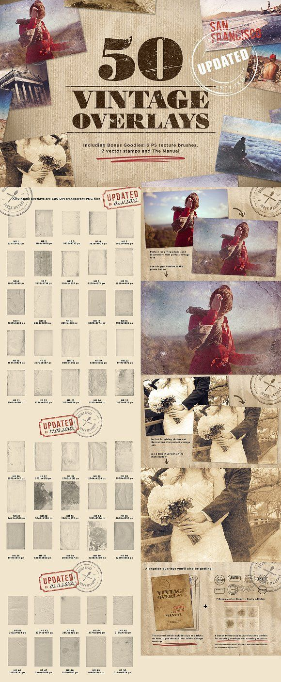 50 Vintage Overlays + Bonus by Design Spoon on @creativemarket