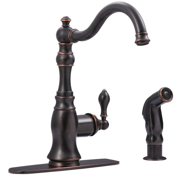 Ultra Faucets Bronze Single Handle Standard Kitchen Faucet With Side Sprayer In Oil Rubbed Bronze