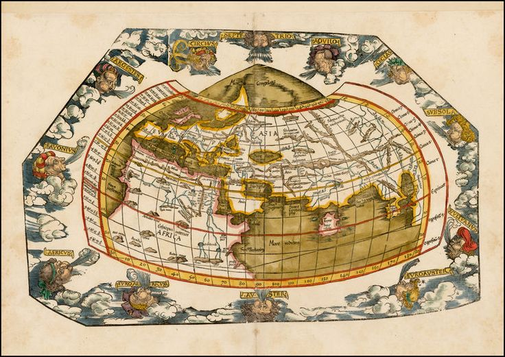 Finely coloured example of this early 16th Century map of the World according to the ancients, surrounded by 12 wind heads representing the various wind directions.   The maps were designed by Laurent Fries for his edition of Ptolemy's Geographia, first published in 1522.  Lorenz (Laurent) Fries was born in Alsace in about 1490. He studied medicine, apparently spending time at the universities of Pavia, Piacenza, Montpellier and Vienna.
