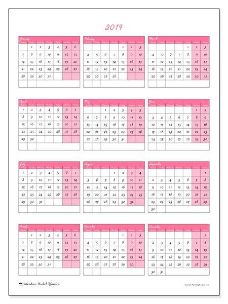 Calendar 2019 (42MS) Print calendar, Yearly calendar and Printable
