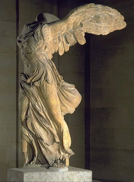 The Winged Victory of Samothrace. It's from the second century BCE, and it represents the Greek god of victory, Nike. It was made to commemorate a successful sea battle.