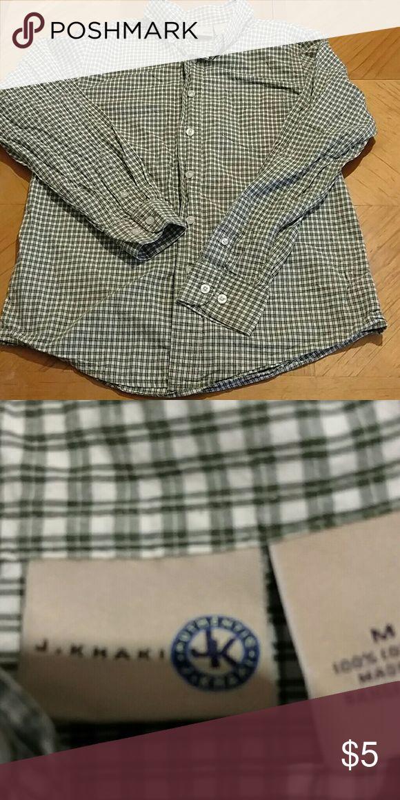J khaki shirt J khakis button up shirt. Excellent condition. Green and white checked. Smoke free home. Size medium boys J Khakis Shirts & Tops Button Down Shirts