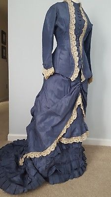 Antique victorian 1870's blue silk taffeta dress 2 pc