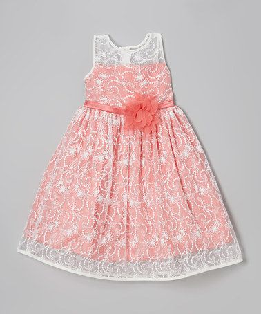 Love this Ivory & Coral Lace Babydoll Dress - Toddler & Girls on #zulily! #zulilyfinds