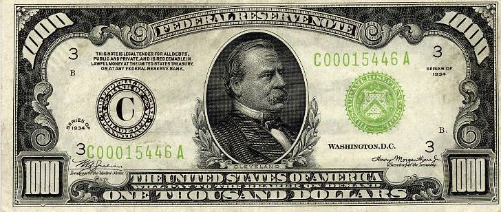 This specific $1,000 dollar bill was printed in 1928 and has the portrait of the twenty-fourth president Grover Cleveland printed on. Description from pinterest.com. I searched for this on bing.com/images