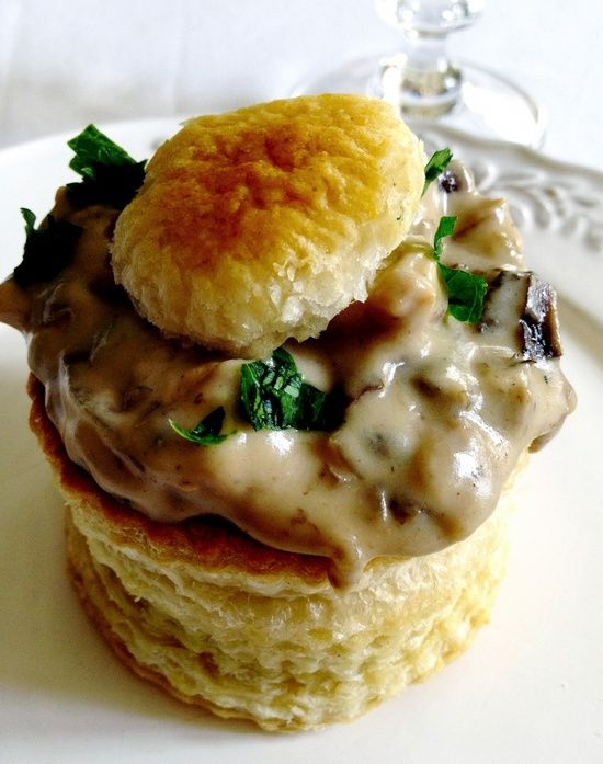 """""""Bouchée à la Reine - puff pastry with chicken, morel mushrooms, onions, white wine, and a bechamel sauce."""" ... My mouth is watering...."""