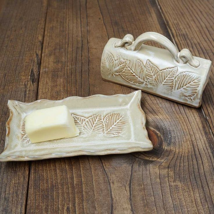 Leaf Motif Butter Dish | North Carolina Pottery