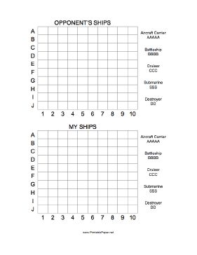 You sunk my battleship! Use this printable Battleship grid to play the traditional game, with positioning guide and letter abbreviation key for aircraft carrier, battleship, cruiser, submarine and destroyer. Free to download and print