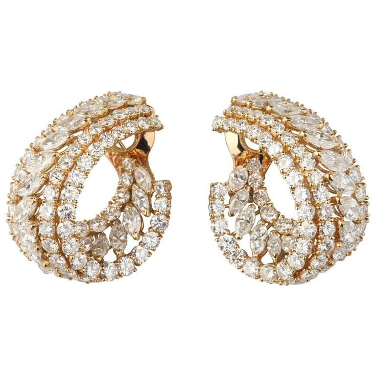 M.Gerard Diamonds Gold Earclips | From a unique collection of vintage clip-on earrings at https://www.1stdibs.com/jewelry/earrings/clip-on-earrings/