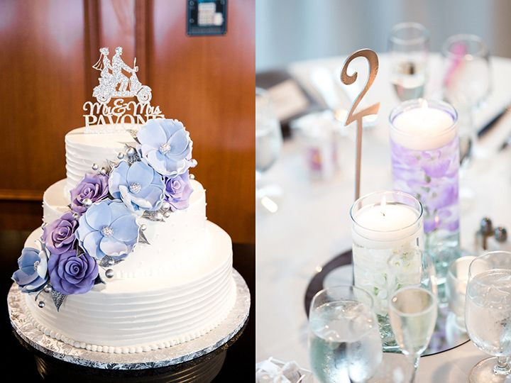 pretty shades of white and purple for the wedding cake and floating candle centerpieces - sooo pretty!