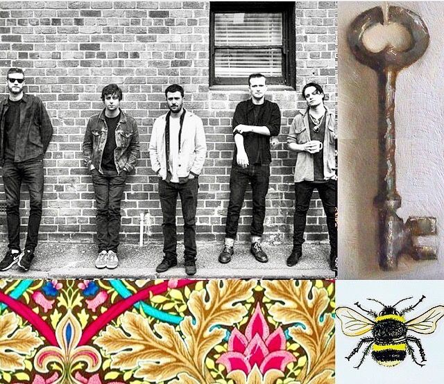 Photomashup the Maccabees, old key, wallpaper detail, bee drawing by me, found images by Lizzie Reakes