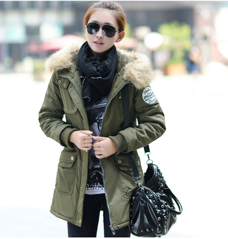 Winter Coat Women 2016 New Parka Casual Outwear Military Hooded Thickening Cotton Coat Winter Jacket Fur Coat Women Clothes W174