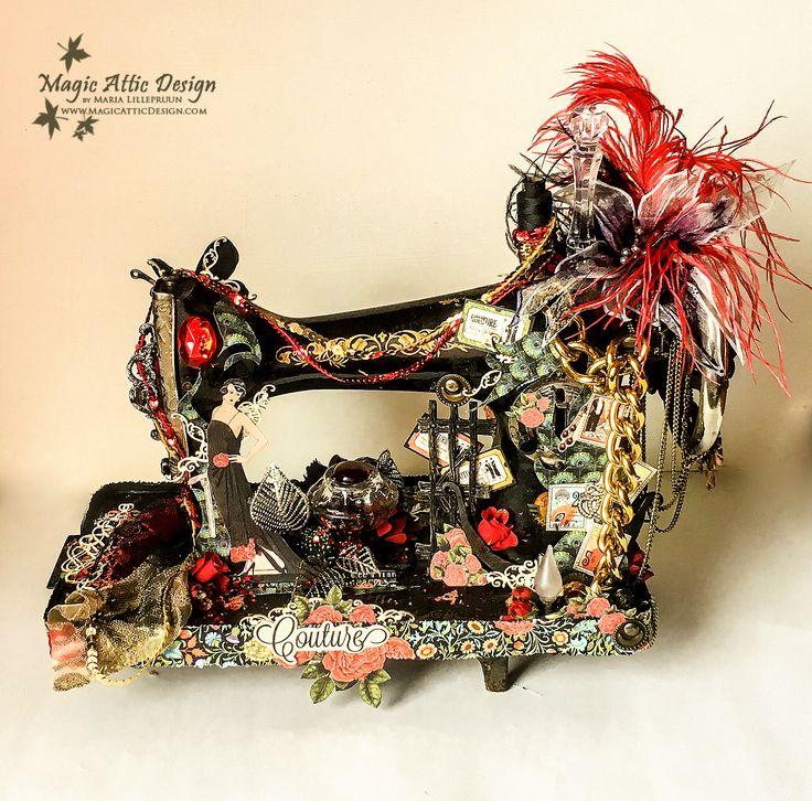Altered art sewing machine by Maria Lillepruun. Odmieniona maszyna do szycia od Marii Lillepruun.
