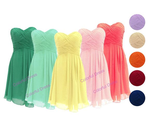 Sweetheart Chiffon Bridesmaid Dress/Short Bridesmaid by ColorDress